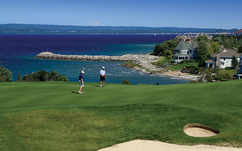 golf course overlooking the bay - beautiful sunny day