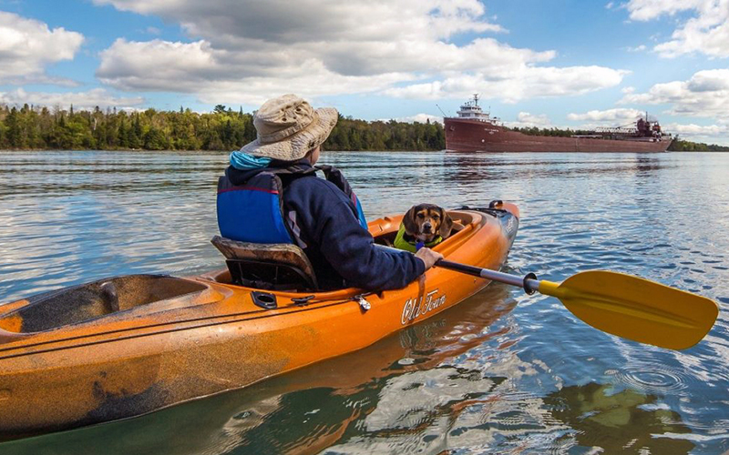 guy and his dog in a kayak as a freighter comes up the river