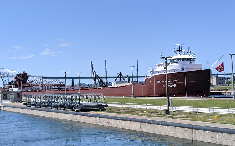 large freighter in the locks