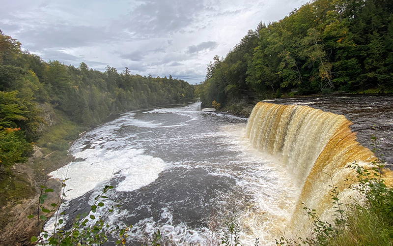 tahquamenon falls of brown and amber color, green trees and cloudy skies