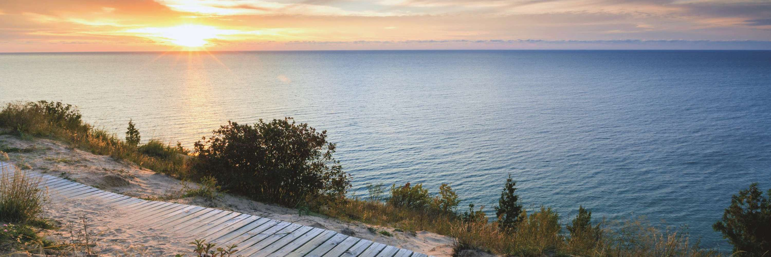 Boardwalk on dunes over Great Lakes