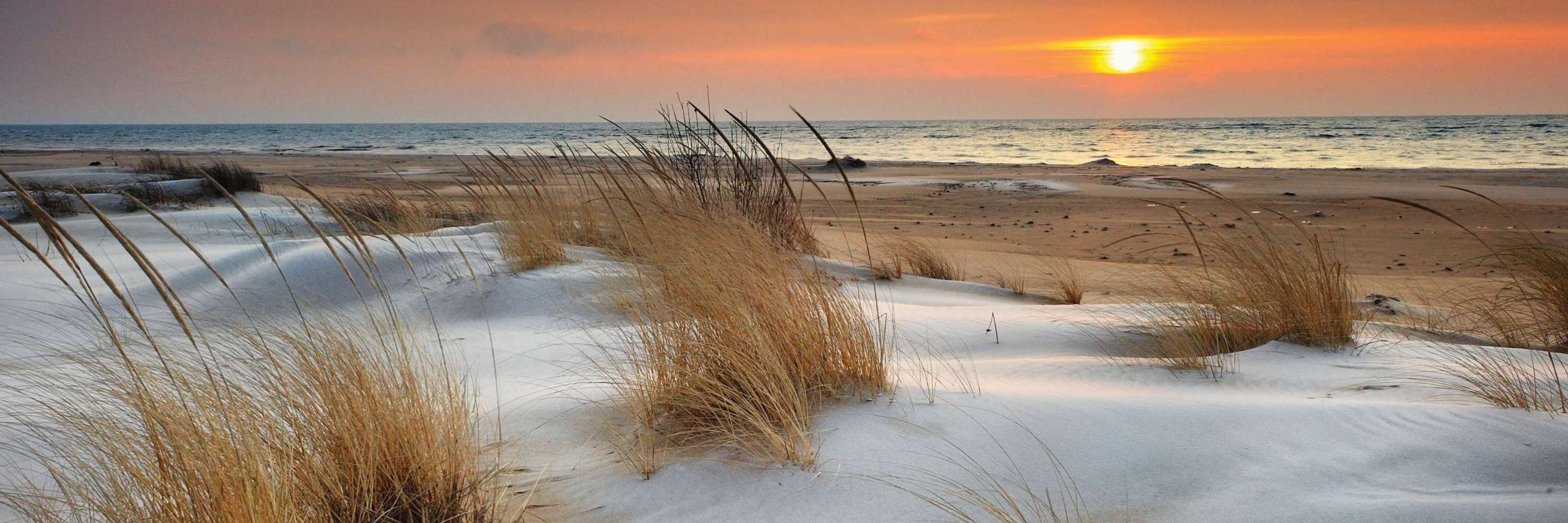 Snow-covered beach along Great Lakes