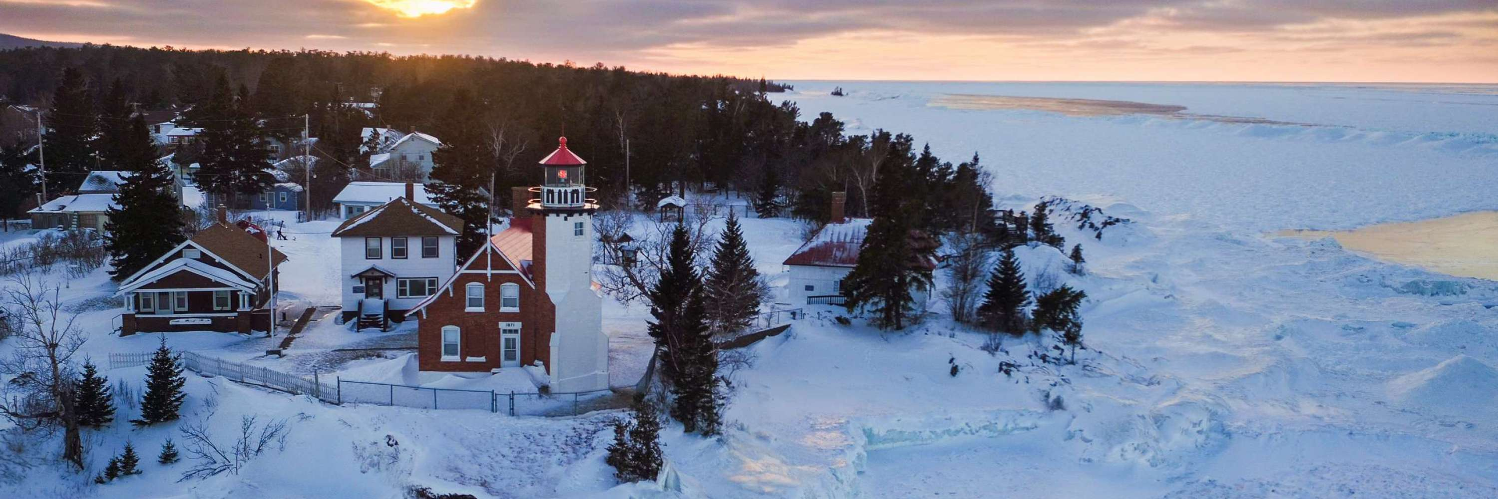 Eagle Harbor Lighthouse during winter