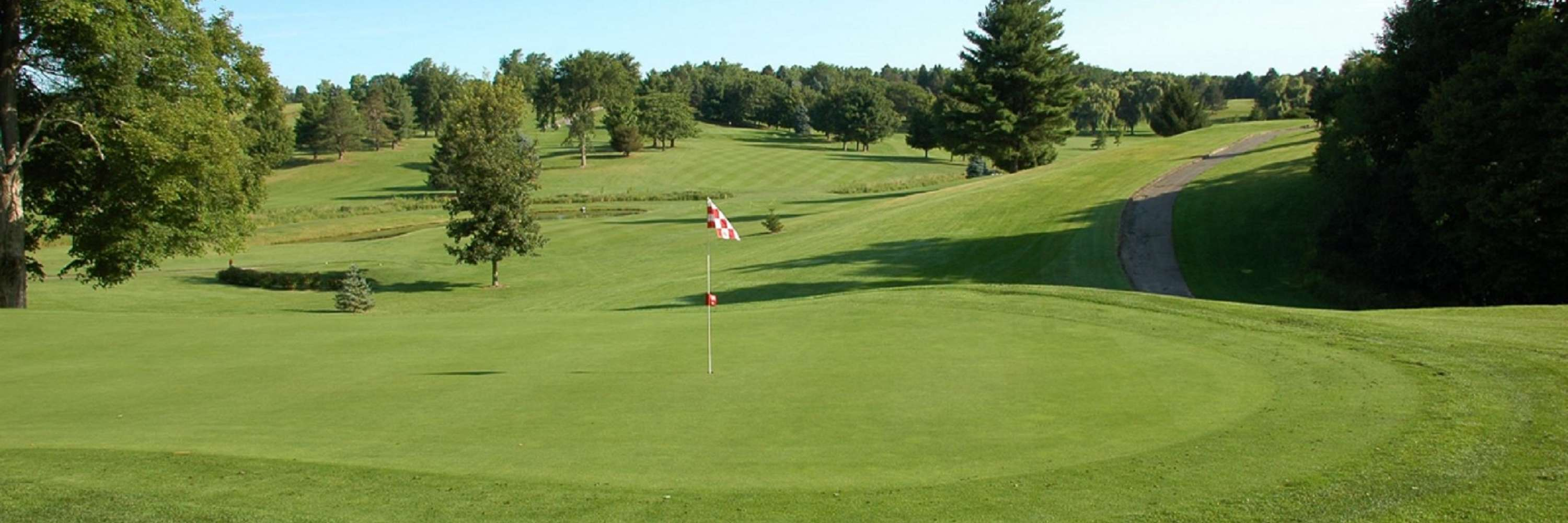 view from the green, flag in hole, green pines way in back, very hilly rolling terrain, bright blue sky