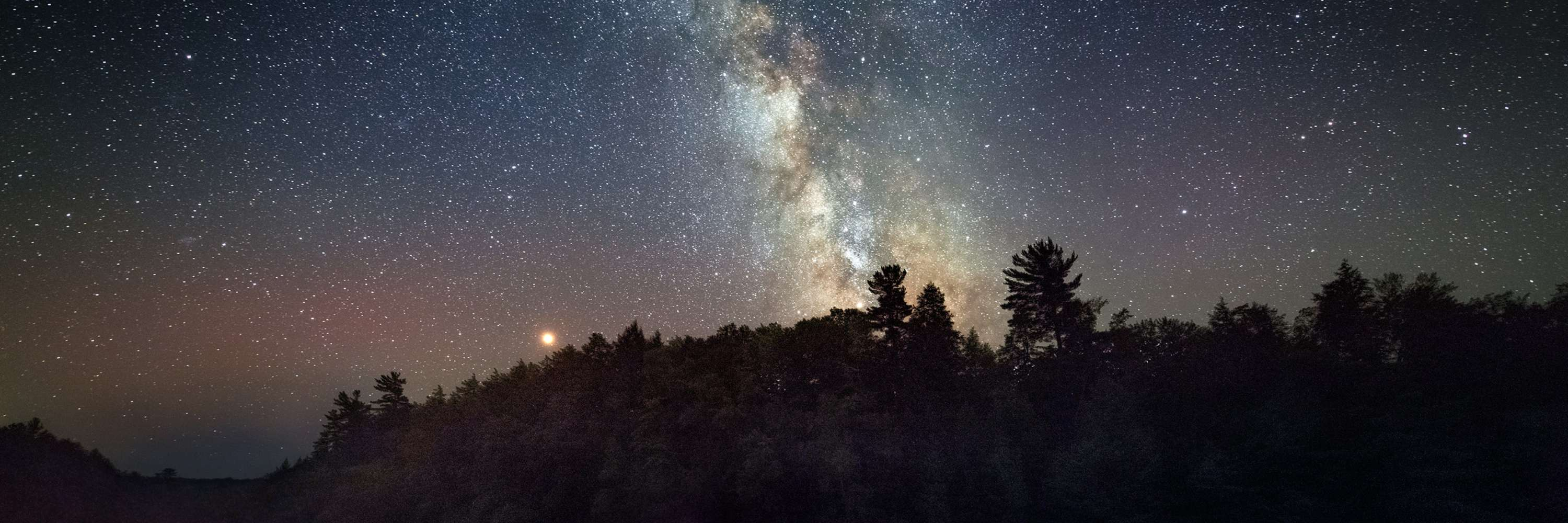 Milky Way at night over trees in Michigan