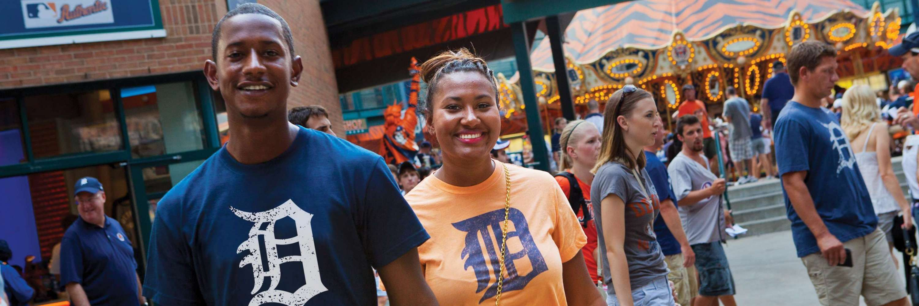 couple outside of comerica park for a detroit tiger ball game
