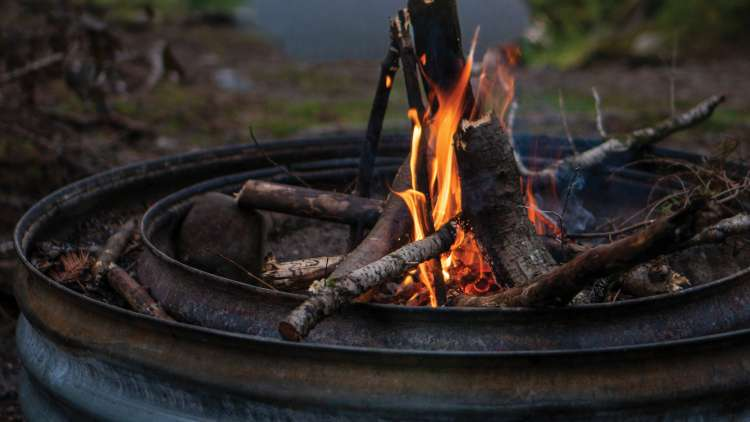 Crackling campfire in fire ring