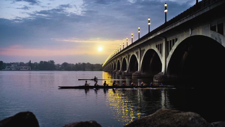 MacArthur Bridge at sunrise facing Belle Isle from Detroit