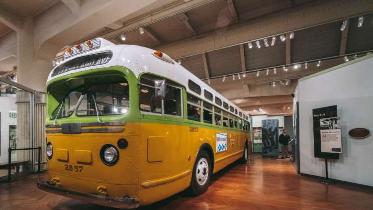 The Rosa Parks Bus on display inside The Henry Ford Museum
