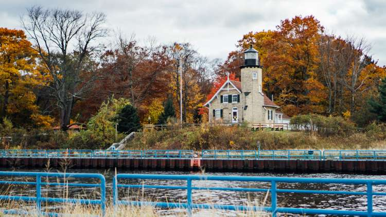 White River Lighthouse in the Fall