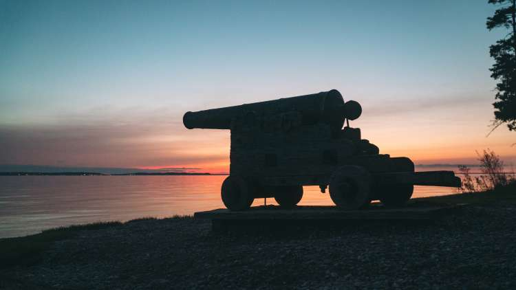 Historic cannon at British Landing on Mackinac Island