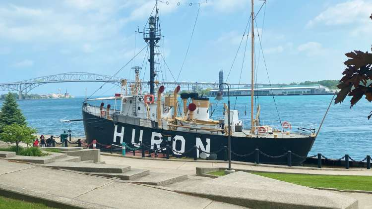 Huron Lightship permanently docked by the Blue Water Bridge.