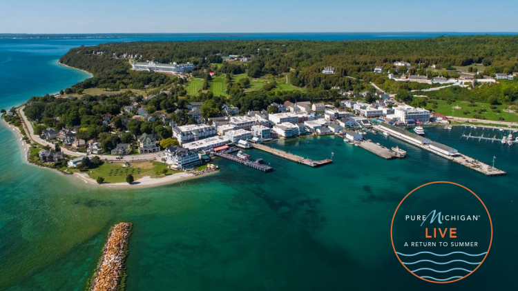 Mackinac Island image with the Return To Summer event logo.