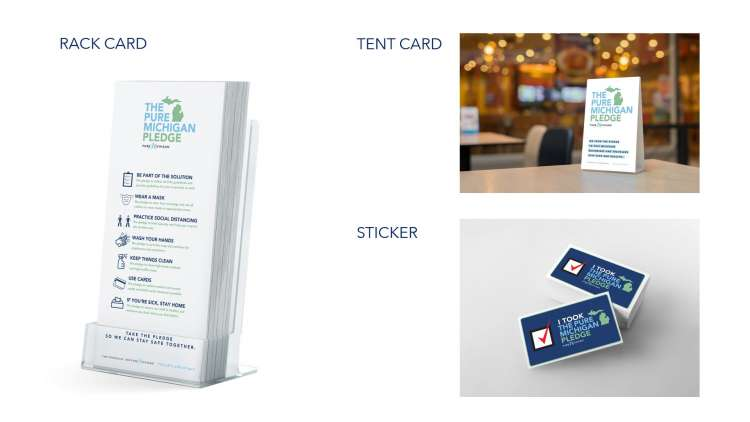Graphic design featuring a rack card, tent card and sticker design