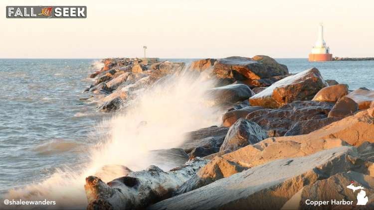 Waves breaking at Copper Harbor in Michigan, photo by Shalee Blackmer