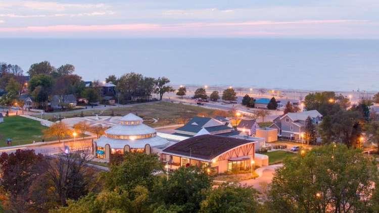 Carousel near shore of Lake Michigan