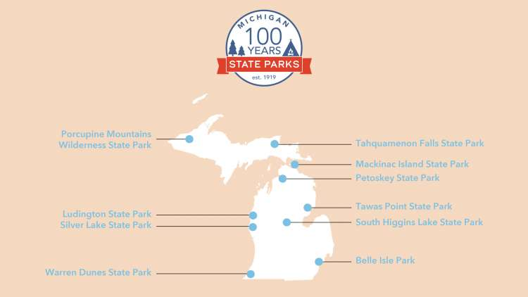 Map of Michigan with the park locations called out