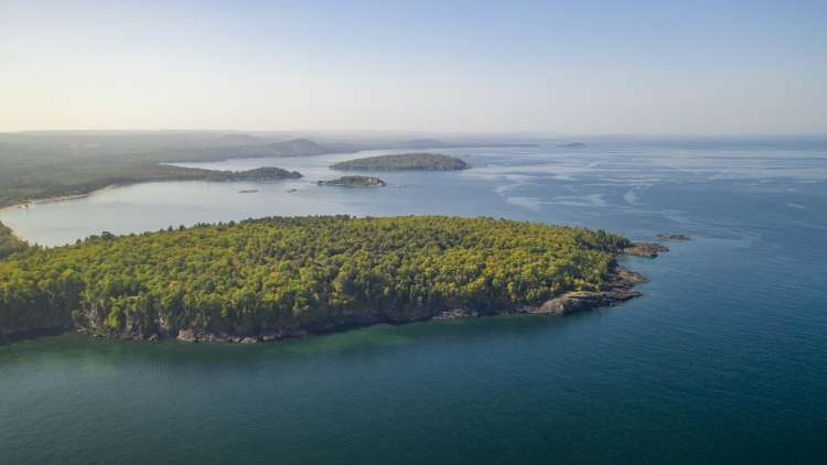 aerial view of lake superior overlooking marquette