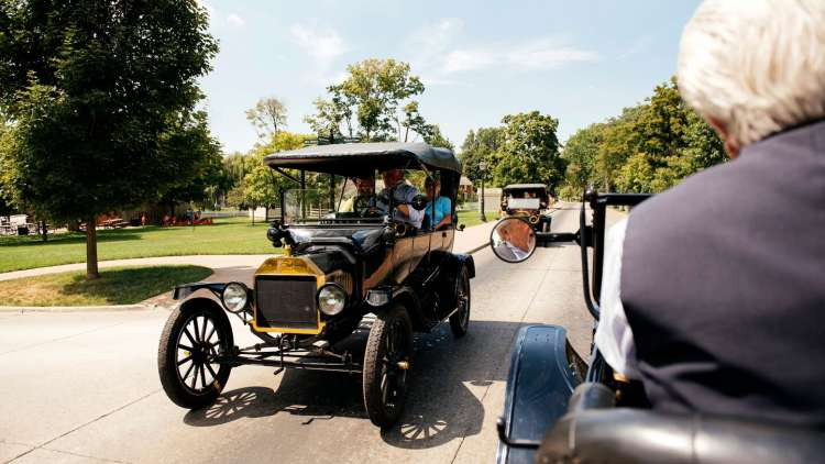 driving model t cars at greenfield village