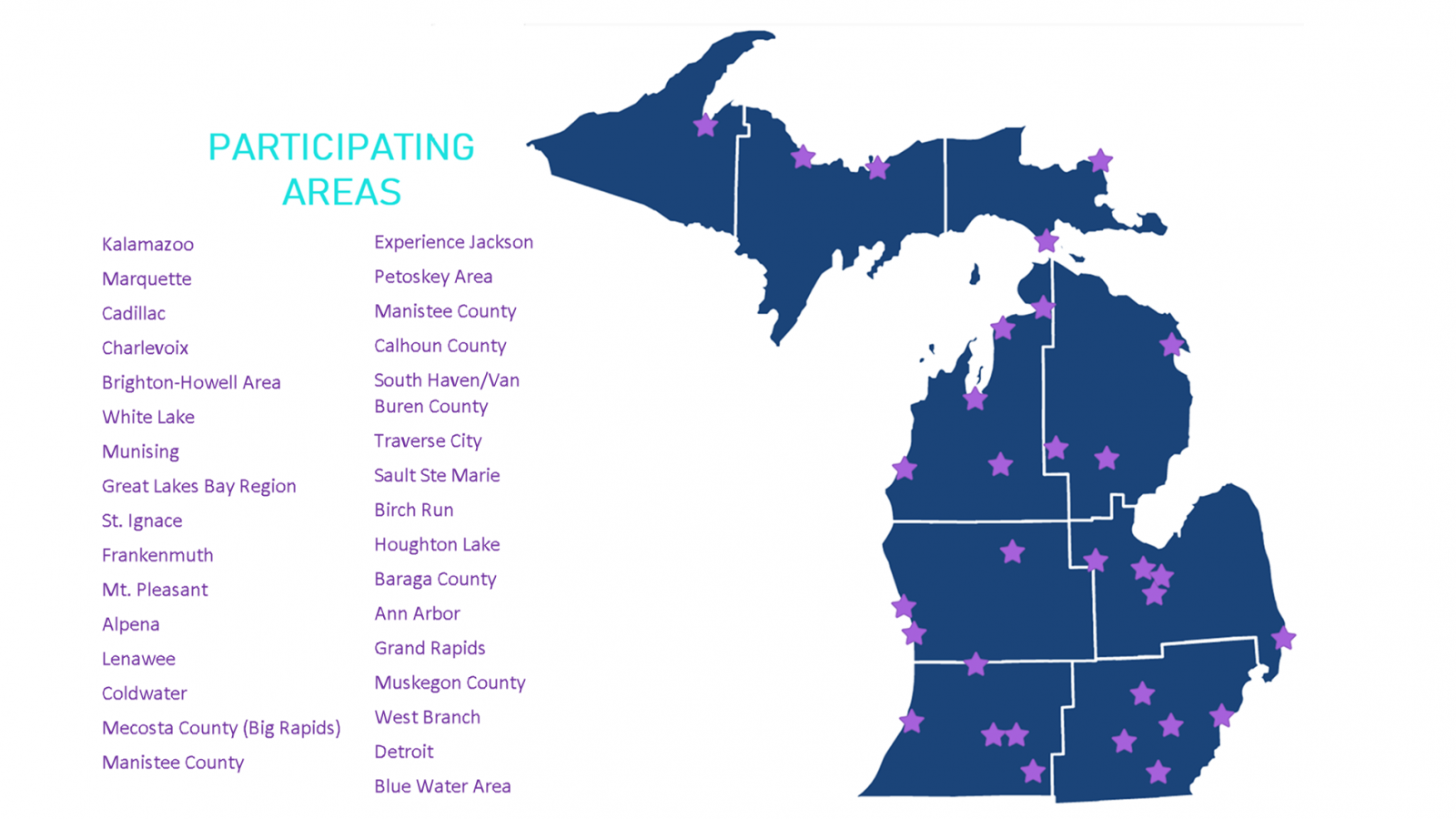 List of participating areas next to a map of the state with stars highlighting the areas