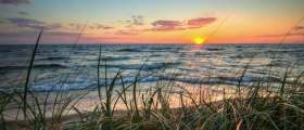 Sunset on Lake Michigan at PJ Hoffmaster State Park.