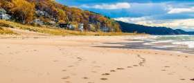Beach during fall by Grand Haven