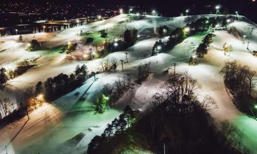 Ski hill at night from above