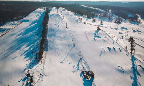 Cannonsburg Ski Area mountain covered in snow