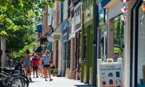 Shoppers in downtown Grand Haven