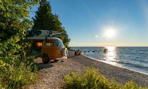 Vintage van at McGulpin Point beach