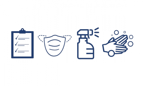 Icons of a clipboard, face mask, spray bottle, and washing hands