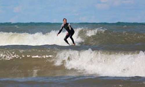Surfing on Lake Michigan in South Haven