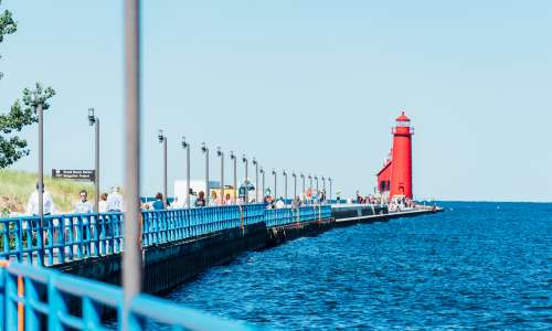 The big red lighthouse in Grand Haven, Michigan