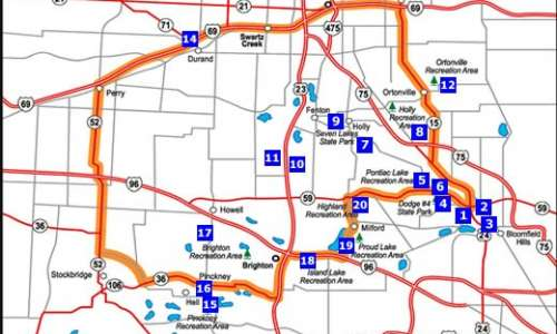 Route for Flint - Brighton - Bloomfield Hills Road Trip