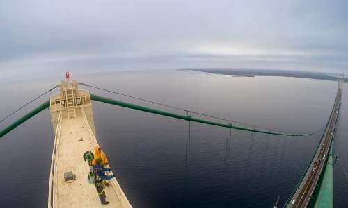 Google Trekker at the top of Mackinac Bridge