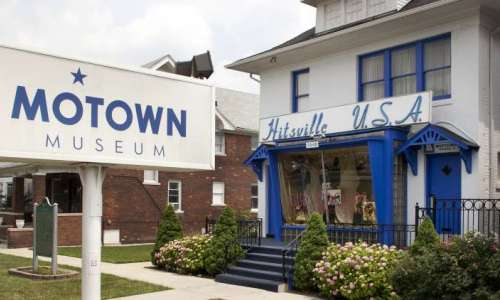 The exterior of the Motown Museum during summer.
