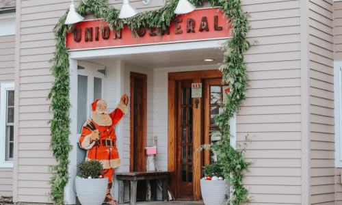 Union General Storefront decorated with Christmas garland.