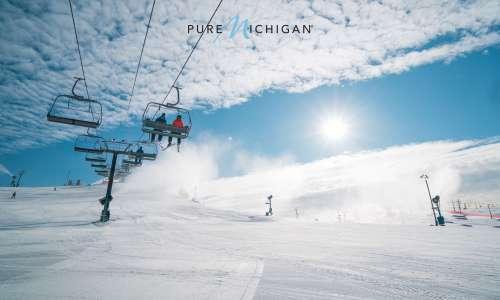 Image of Ski Lift with the Pure Michigan Logo