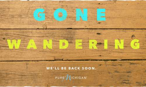 "Graphic Design that reads ""Gone Wondering. We'll Be Back Soon."""