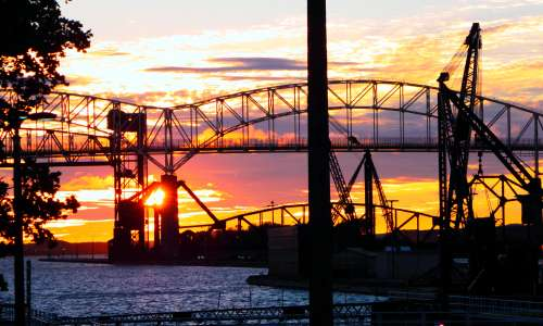 Soo Locks at sunset