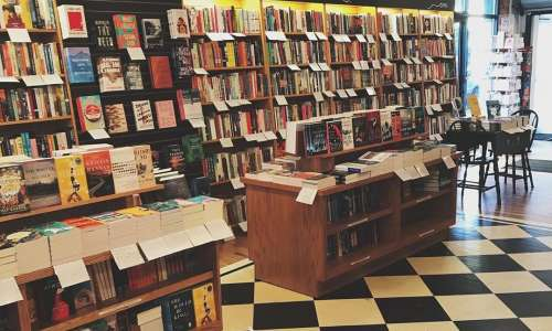 Book shelves and displays at Literati bookstore in Anne Arbor
