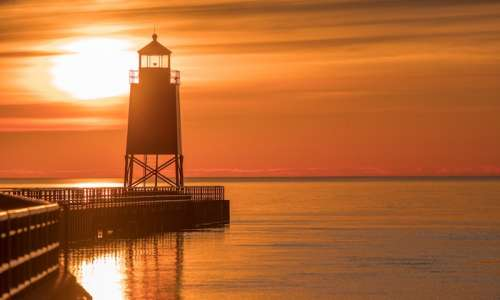lighthouse at sunset in Charlevoix