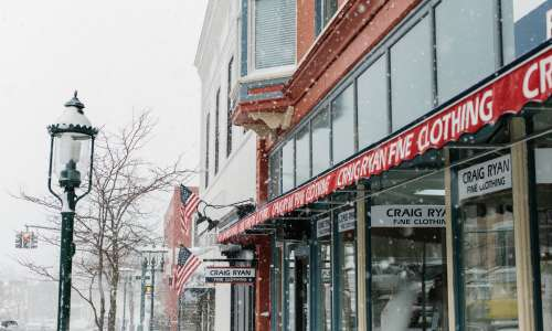Storefronts in downtown Petoskey during winter.