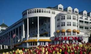 Grand Hotel with tulip garden