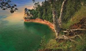 Cliffs at Pictured Rocks National Lakeshore above Lake Superior.