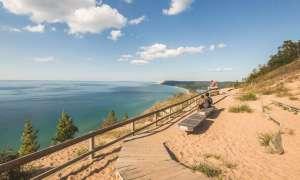 People on Dune overlooking Lake Michigan