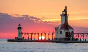 The St. Joseph Lighthouse at sunset.