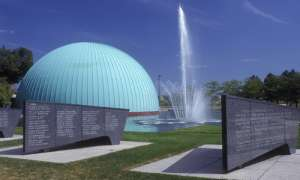 Planetarium next to water fountain