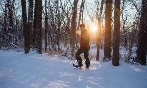 Man hiking through winter forest