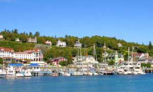 Houses and boats at harbor on Mackinac Island